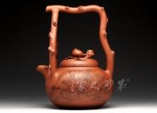 宜興紫砂壺-桃圣提梁-原礦底槽青-莊青
