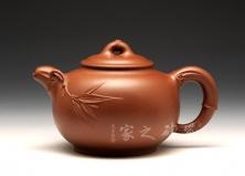 宜兴紫砂壶-圆竹壶-原矿底槽青-吴奇敏
