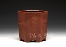 六方盆(陶杰刻绘)