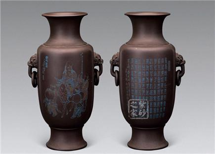 紫砂胎百寿瓶