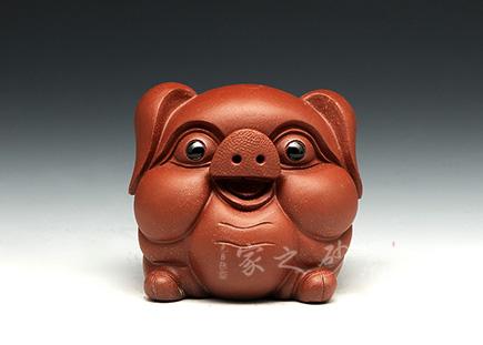 高档宜兴紫砂壶【小猪(红)】 | 紫砂壶名家【雕塑摆件