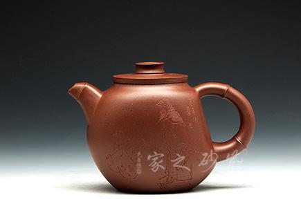 宜兴紫砂壶-高竹节-原矿底槽青-顾建芬