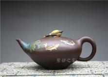 宜兴紫砂壶-鱼乐壶-原矿紫泥-桑黎兵