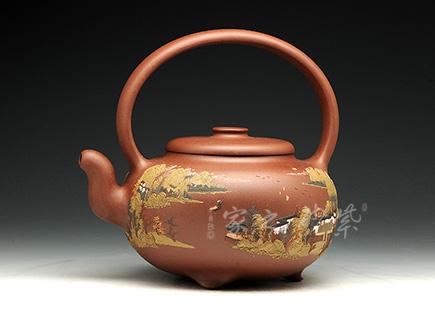 宜兴紫砂壶精品馆作品-施昌-福合提梁 (全手工一等奖)