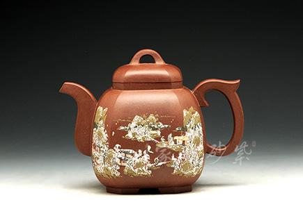 宜兴紫砂壶-福临八方-冬(16全手一等)-原矿紫泥-施昌