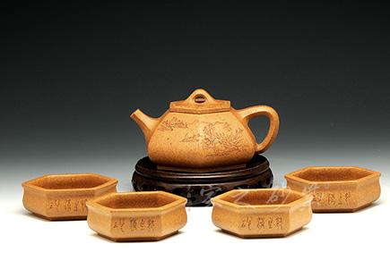 六方石瓢套壶(山水)