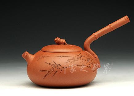 宜兴紫砂-竹报平安-红降坡泥-储峰