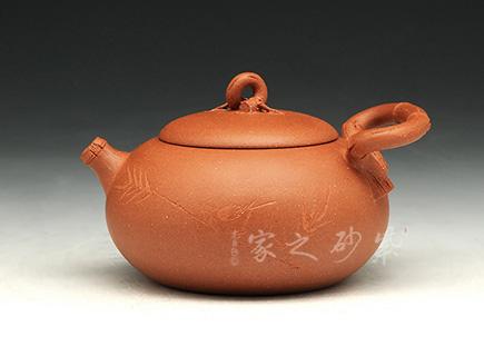 宜兴紫砂-品竹圆壶-红降坡泥-储峰