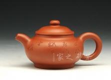 宜兴紫砂壶-扁潘壶-原矿朱泥-崔龙君