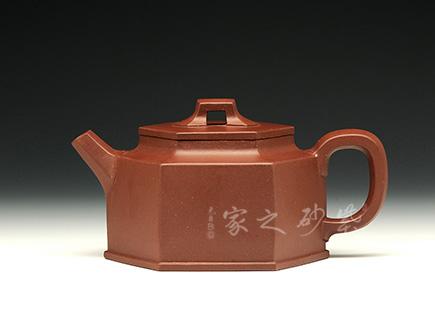 宜兴紫砂壶-古韵六方-原矿底槽青-闵荣彬
