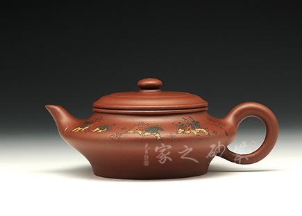 宜兴紫砂壶-虚扁-龙血砂-庄青
