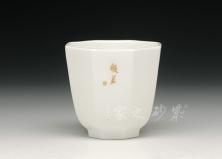 六方白瓷杯