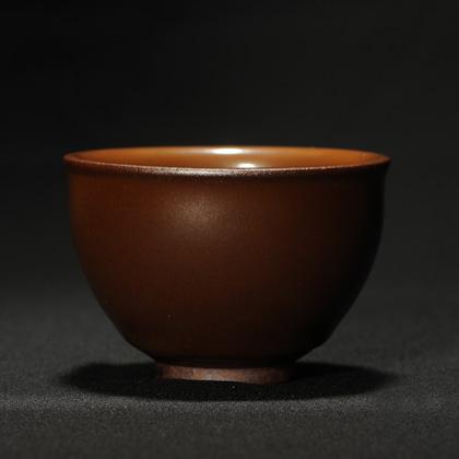 龙窑柴烧柿红盅杯