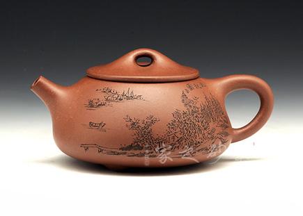 宜兴紫砂壶-石瓢(晚秋)-原矿紫泥-庄青