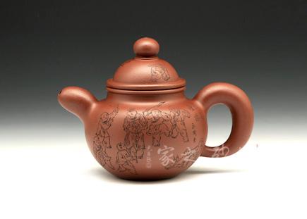 宜兴紫砂壶-掇球(百子)-龙血砂-庄青