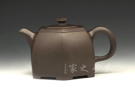 宜兴紫砂壶-黑色六方博华壶-原矿紫泥-鲍庭博
