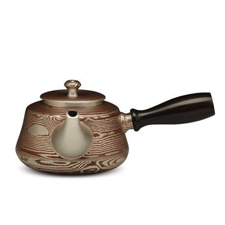 木纹金工艺 横手银壶