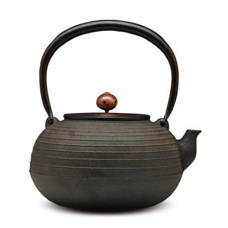 100%日本堂口直供-丸型线纹砂铸铁壶