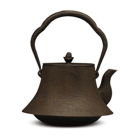 100%日本堂口直供-富士山水砂铸铁壶