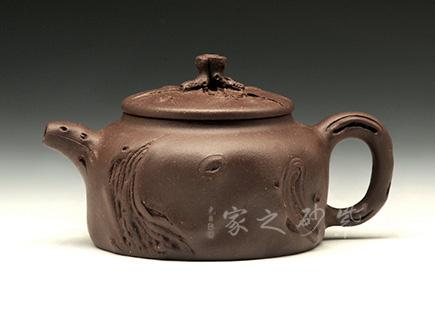 宜兴紫砂壶-小桑扁供春壶-原矿紫泥-钱盘德