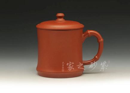 紫砂周边-竹节杯-原矿朱泥-盖杯