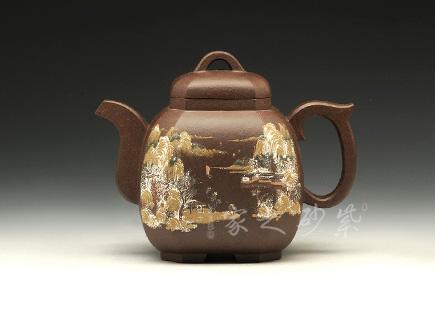 宜兴紫砂-小福临八方(冬)-原矿紫泥-施昌