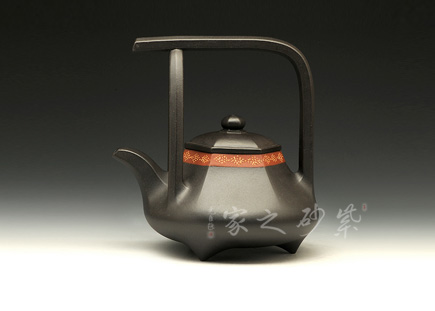 紫砂壶-金奖-花边提梁-黑泥-范锡明