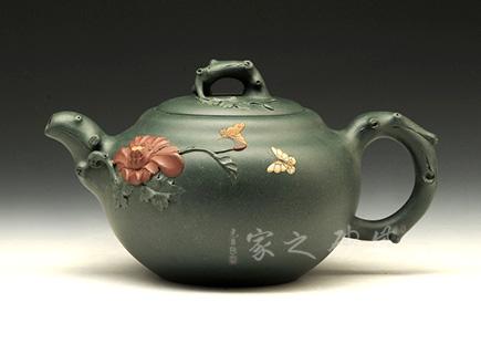 宜兴博亿堂娱乐壶-花开富贵-民国绿泥-许敏芳