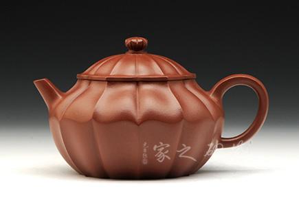 宜兴紫砂壶-十二瓣菱花宝菱壶-大红袍-周勇生