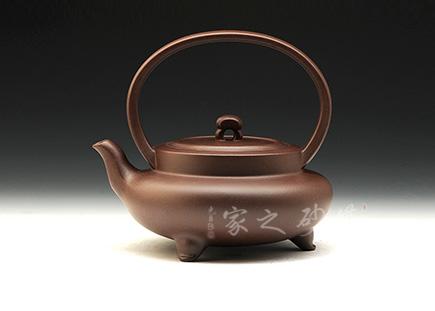 宜兴紫砂壶-8 8提梁(14年手工比赛三等奖)-原矿紫泥-潘洪强