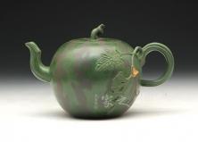 宜兴紫砂壶-西瓜壶-原矿底槽青-高建芳