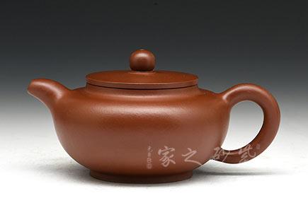 宜兴紫砂壶-平盖莲子-大红袍-周勇生