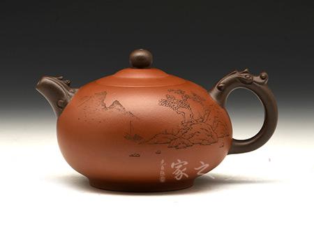 宜兴博亿堂娱乐壶-双龙戏珠(储亚军刻绘)-原矿清水泥-许华芳