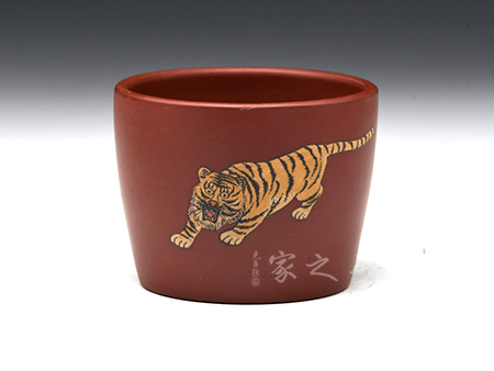 宜兴紫砂壶-直口杯(虎)-玫红泥-陈正初