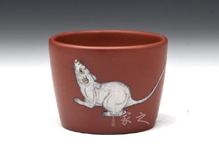 宜兴紫砂壶-直口杯(鼠)-玫红泥-陈正初