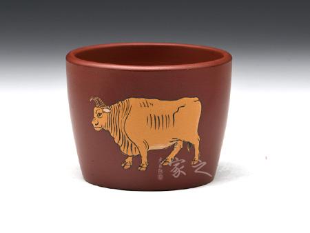 宜兴紫砂壶-直口杯(牛)-玫红泥-陈正初