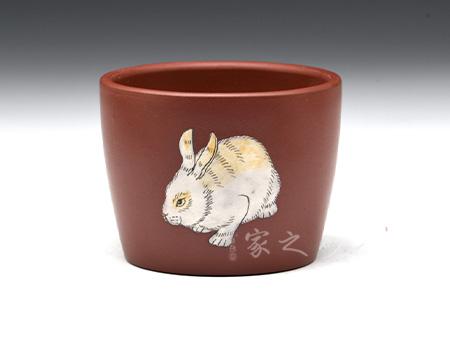 宜兴紫砂壶-直口杯(兔)-玫红泥-陈正初