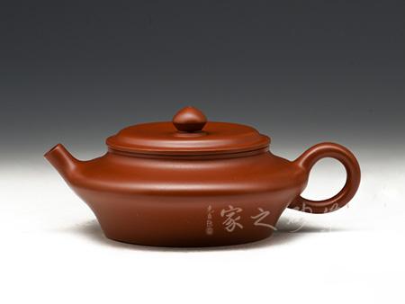 宜興紫砂壺-虛扁-大紅袍-許華芳