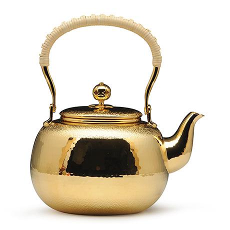 宜兴紫砂-铜镀金壶--银川堂