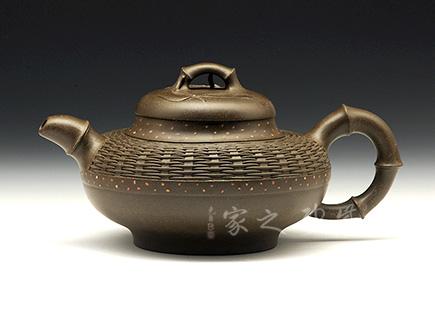 宜兴紫砂-巧竹成器壶-豆青泥-卢伟萍