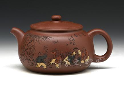 宜兴紫砂壶-童乐百子壶-龙血砂-庄青